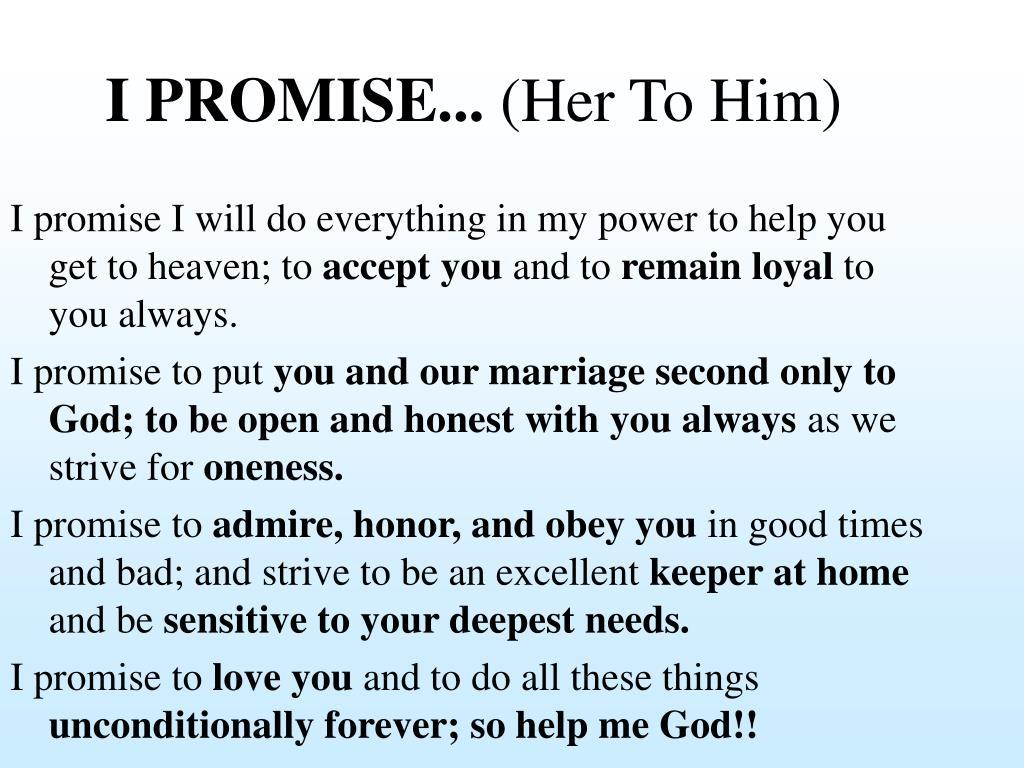 I PROMISE...