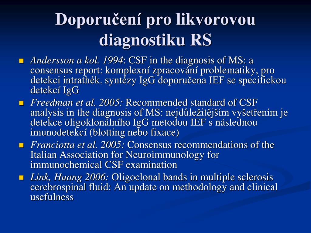 Doporučení pro likvorovou diagnostiku RS