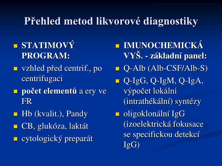 P ehled metod likvorov diagnostiky