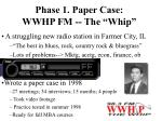 phase 1 paper case wwhp fm the whip