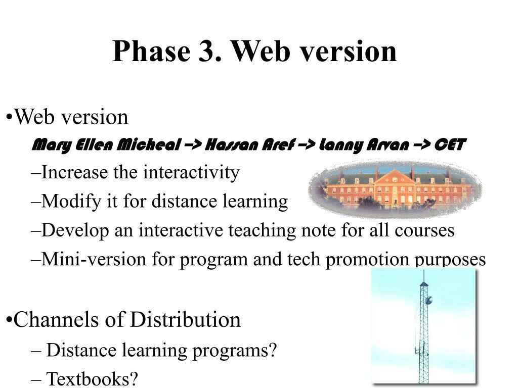 Phase 3. Web version