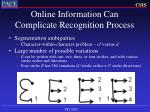 online information can complicate recognition process