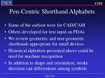 pen centric shorthand alphabets