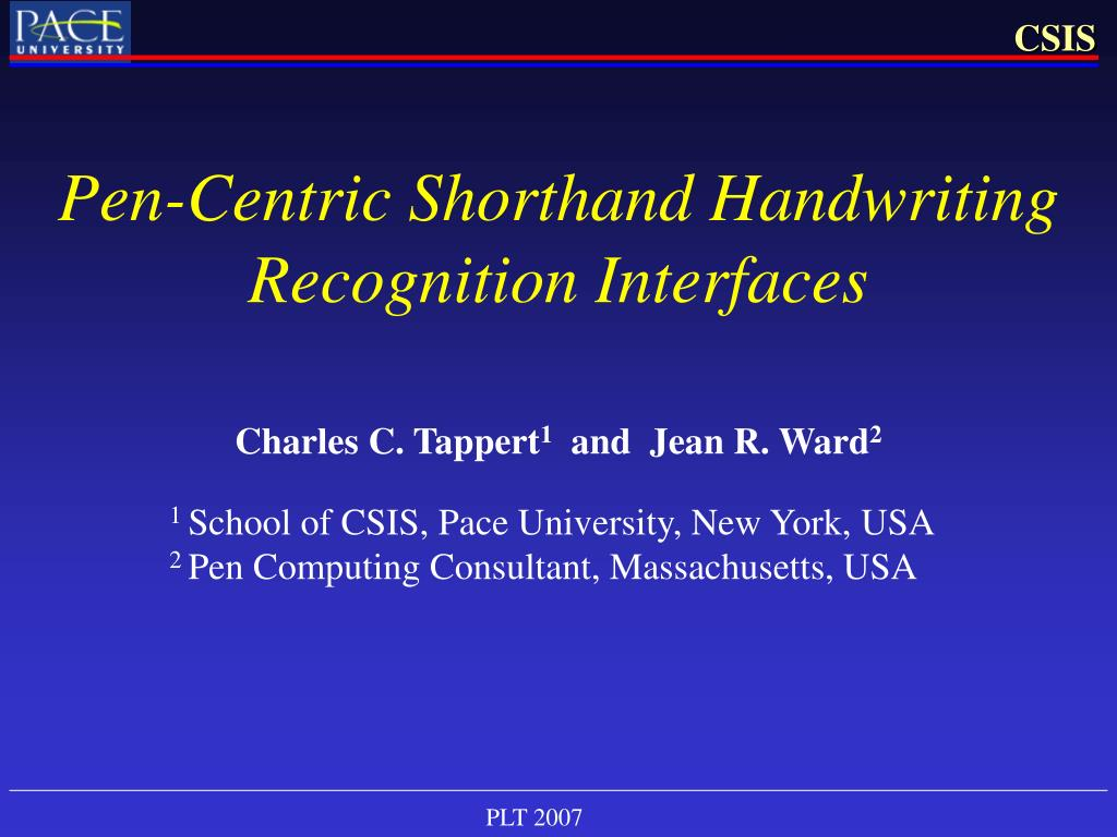 pen centric shorthand handwriting recognition interfaces l.