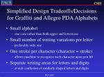 simplified design tradeoffs decisions for graffiti and allegro pda alphabets