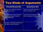 two kinds of arguments21