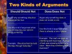 two kinds of arguments22