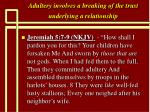 adultery involves a breaking of the trust underlying a relationship29