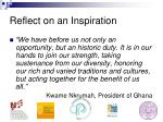reflect on an inspiration