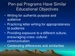 pen pal programs have similar educational objectives