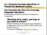 4 1 promote learning objectives of french for business course