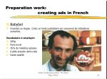 preparation work creating ads in french