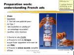 preparation work understanding french ads