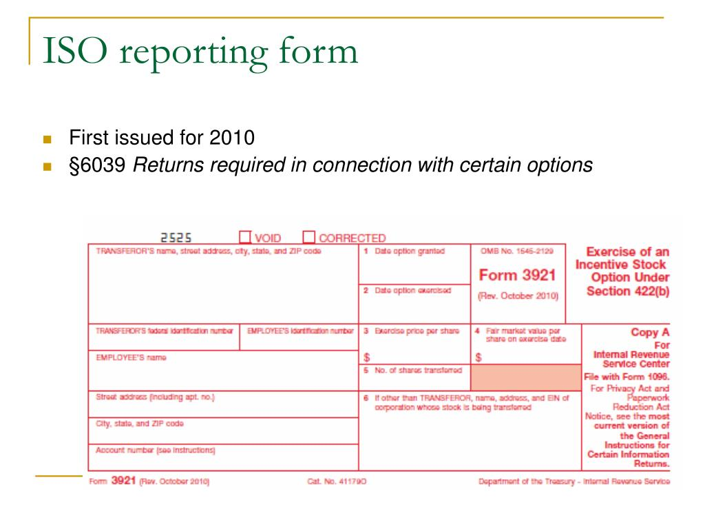 ISO reporting form