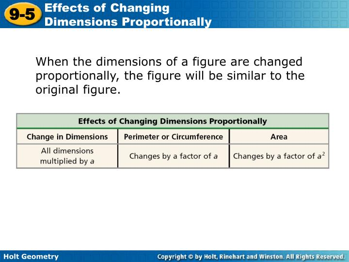 problem solving lesson 9-5 effects of changing dimensions proportionally