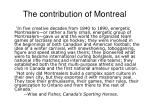 the contribution of montreal