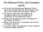 the national policy and canadian sports