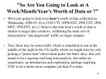 so are you going to look at a week month year s worth of data or