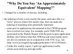 why do you say an approximately equivalent mapping