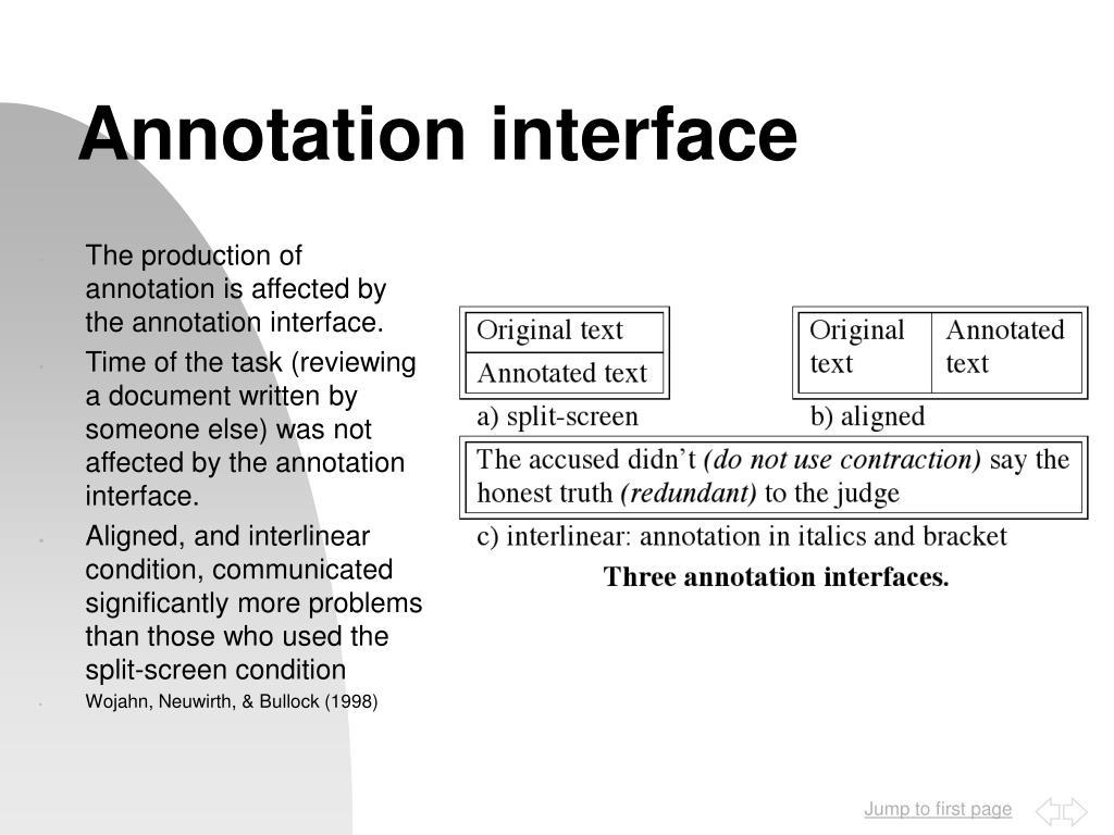 Annotation interface