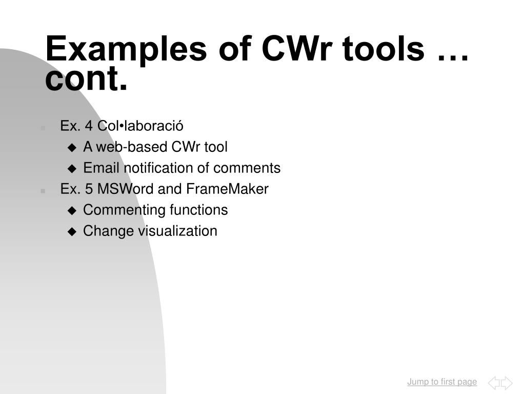 Examples of CWr tools …  cont.