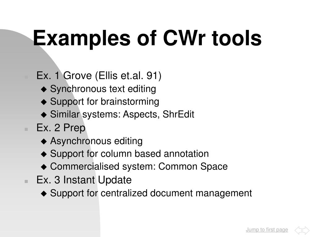 Examples of CWr tools