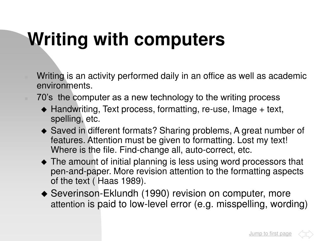 Writing with computers