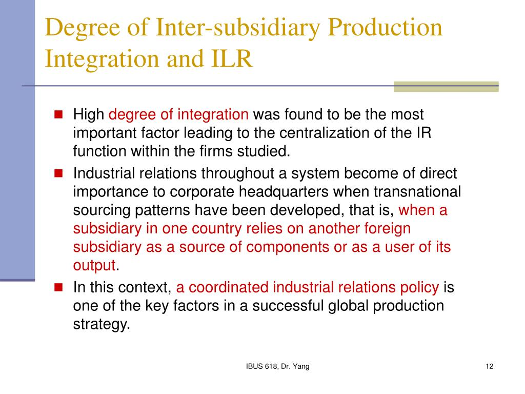 Degree of Inter-subsidiary Production Integration and ILR