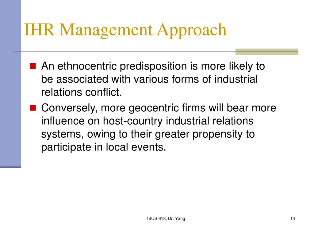 IHR Management Approach