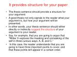 it provides structure for your paper