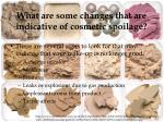 what are some changes that are indicative of cosmetic spoilage