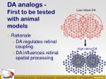 da analogs first to be tested with animal models