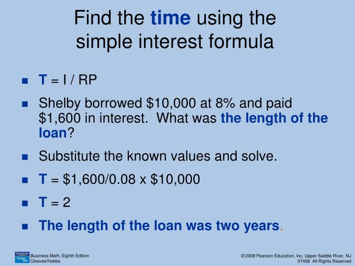 ppt 11 1 the simple interest formula powerpoint presentation id