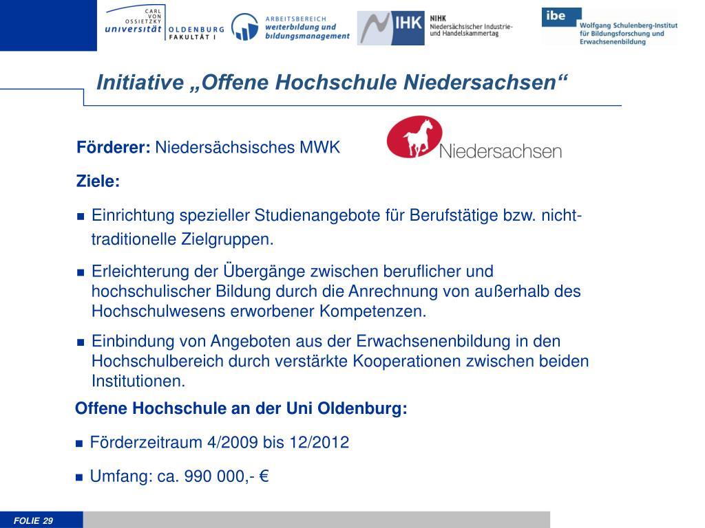 """Initiative """"Offene Hochschule Niedersachsen"""""""