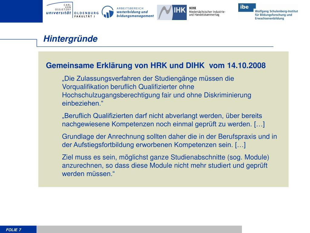 Gemeinsame Erklärung von HRK und DIHK  vom 14.10.2008