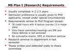 ms plan i research requirements
