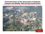 overhead view of the university of alabama campus and shelby hall during construction