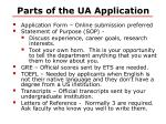 parts of the ua application