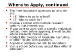where to apply continued