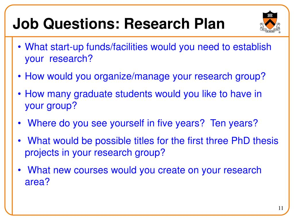 Job Questions: Research Plan