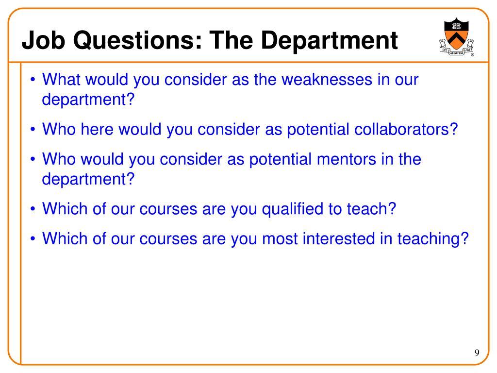 Job Questions: The Department