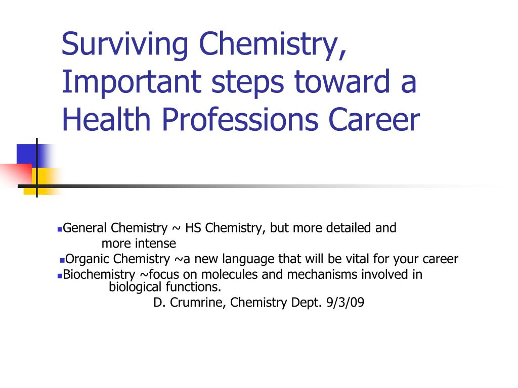 surviving chemistry important steps toward a health professions career l.