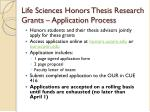 life sciences honors thesis research grants application process