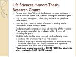 life sciences honors thesis research grants