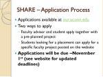 share application process
