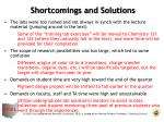 shortcomings and solutions