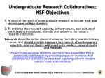 undergraduate research collaboratives nsf objectives