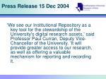 press release 15 dec 2004