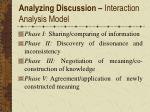 analyzing discussion interaction analysis model