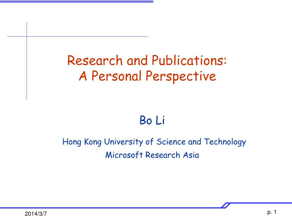 research and publications a personal perspective l.